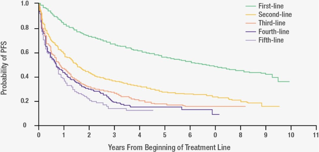Kaplan-Meier Survival curves for PFS by line of therapy in FL